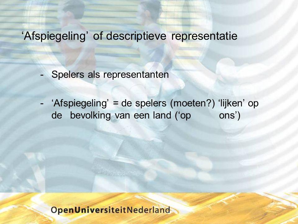 'Afspiegeling' of descriptieve representatie