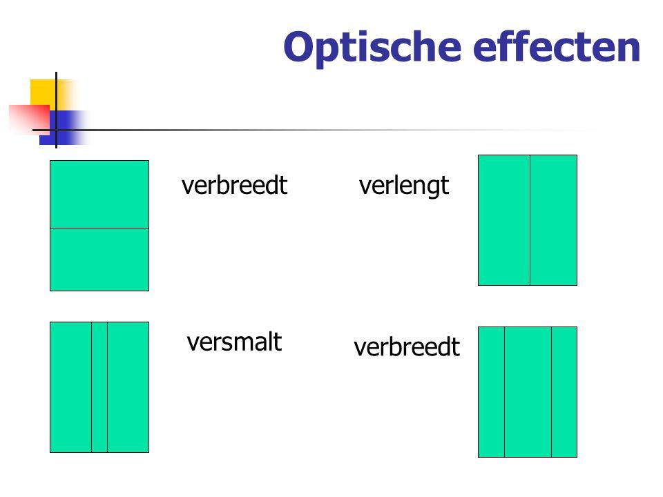 Optische effecten verbreedt verlengt versmalt verbreedt