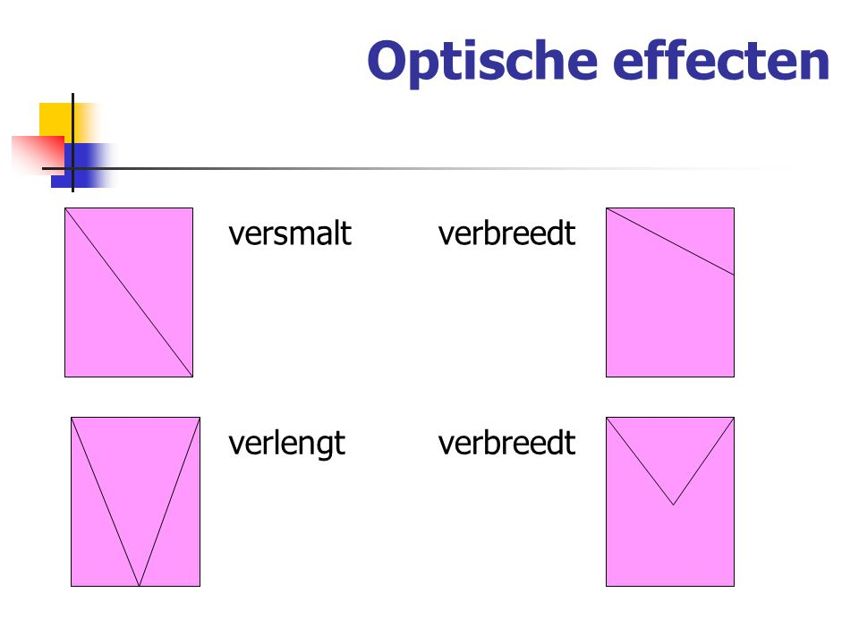 Optische effecten versmalt verbreedt verlengt verbreedt