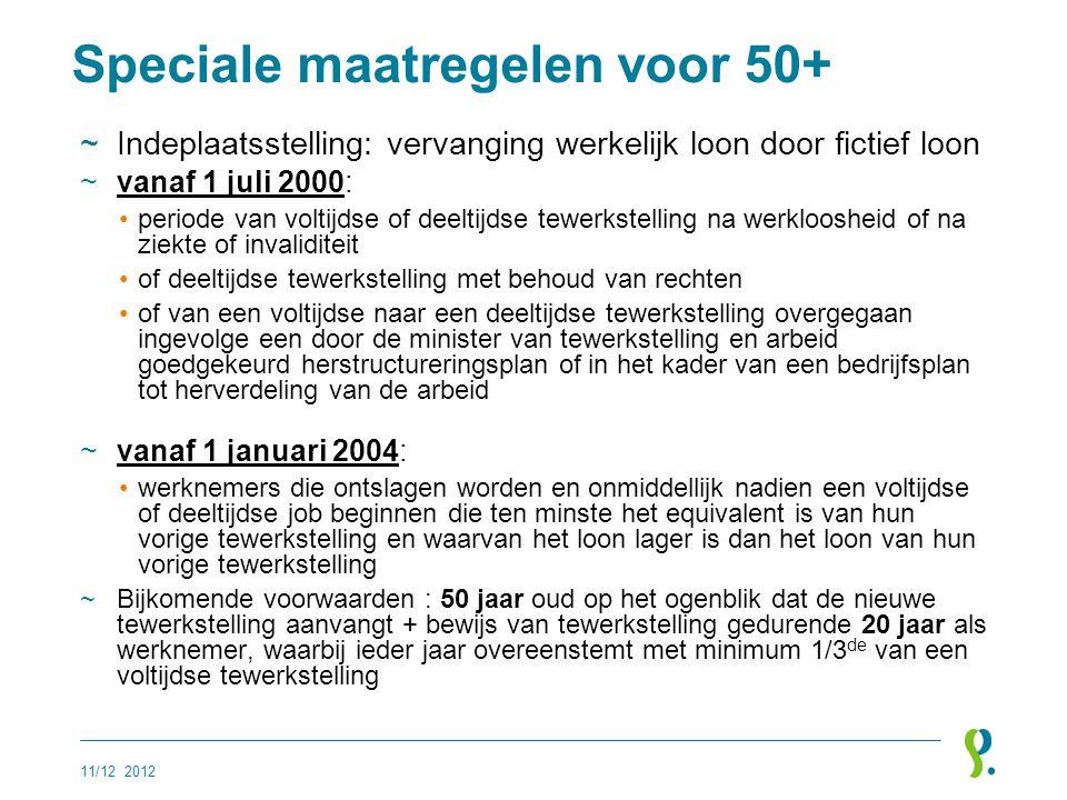 Speciale maatregelen voor 50+