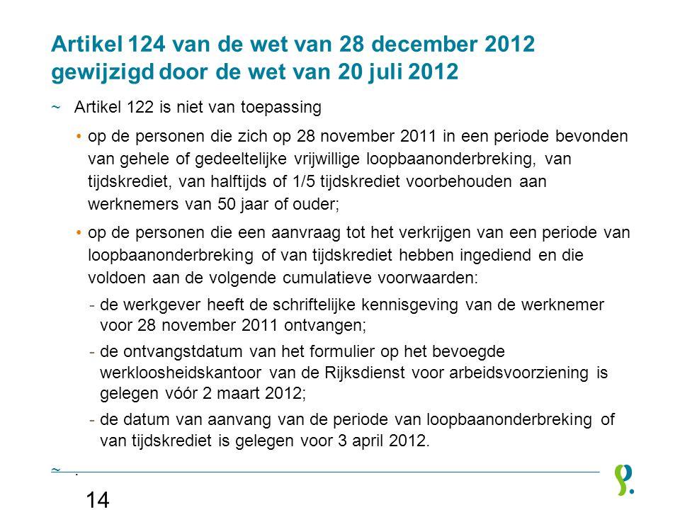 Artikel 124 van de wet van 28 december 2012 gewijzigd door de wet van 20 juli 2012