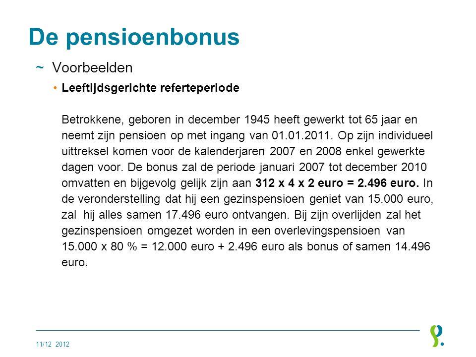 De pensioenbonus Voorbeelden
