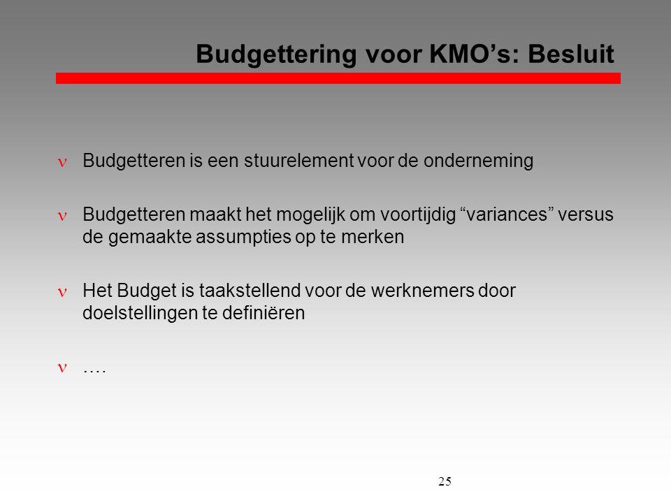 Budgettering voor KMO's: Besluit
