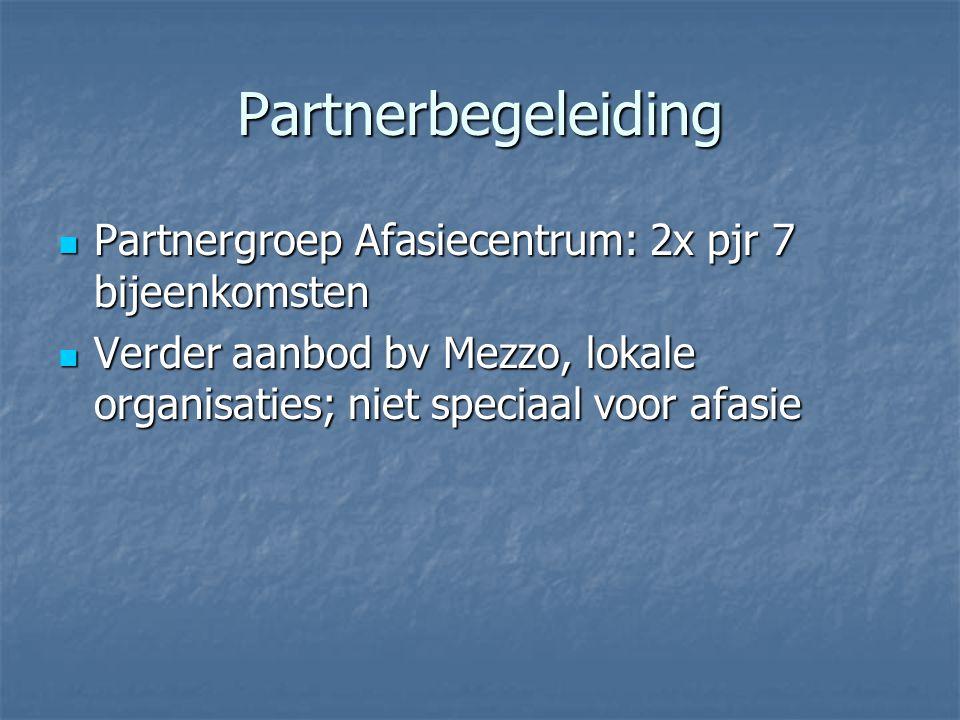 Partnerbegeleiding Partnergroep Afasiecentrum: 2x pjr 7 bijeenkomsten