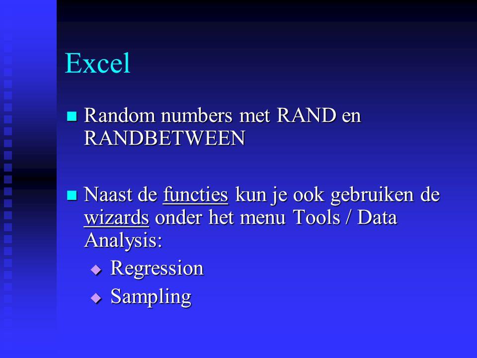 Excel Random numbers met RAND en RANDBETWEEN