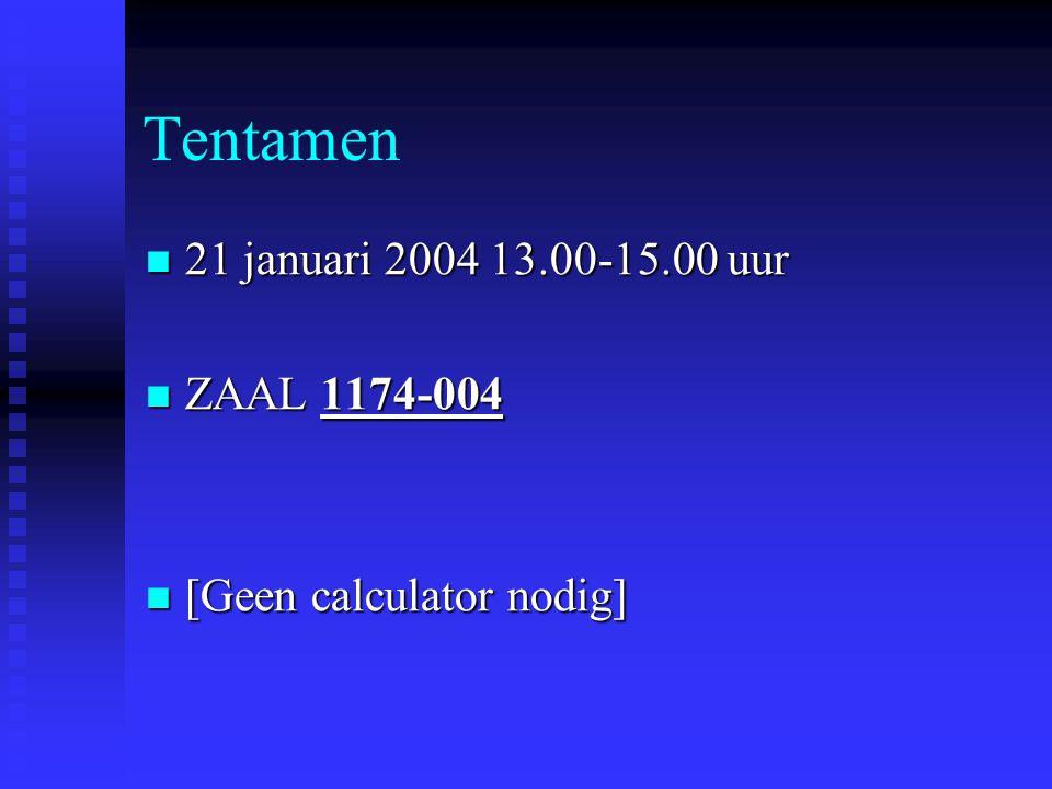 Tentamen 21 januari 2004 13.00-15.00 uur ZAAL 1174-004
