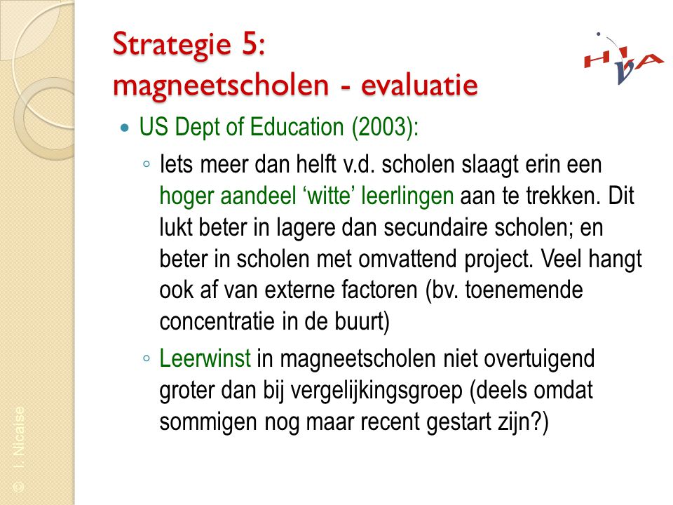 Strategie 5: magneetscholen - evaluatie