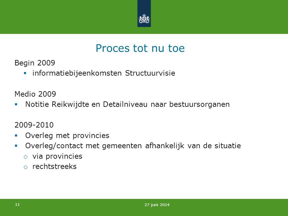 Proces tot nu toe Begin 2009 informatiebijeenkomsten Structuurvisie