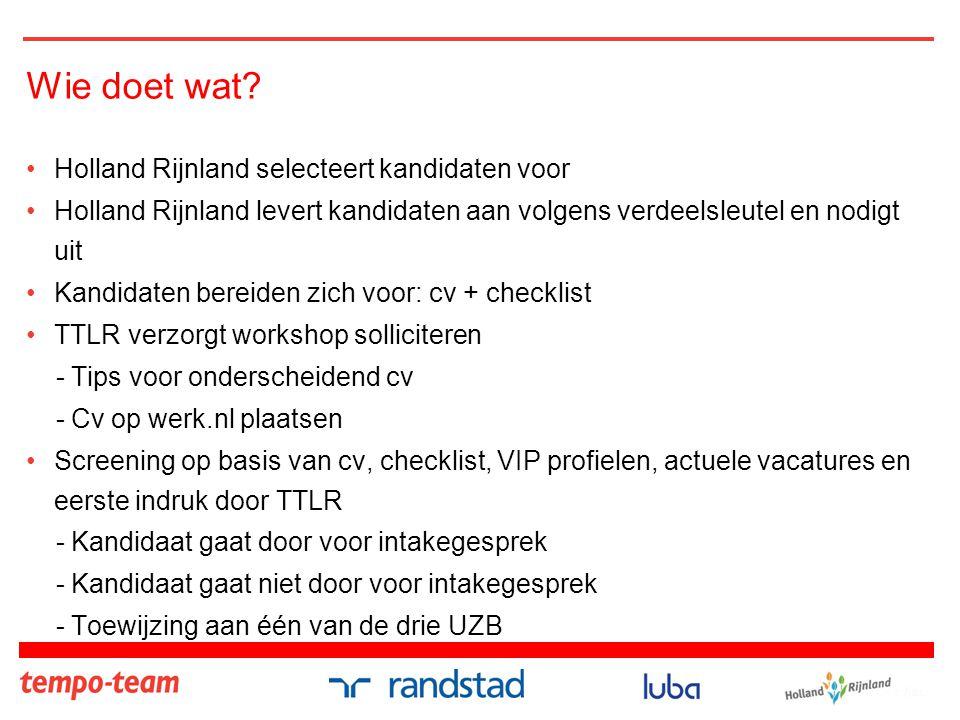 Wie doet wat Holland Rijnland selecteert kandidaten voor
