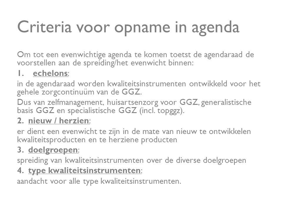 Criteria voor opname in agenda