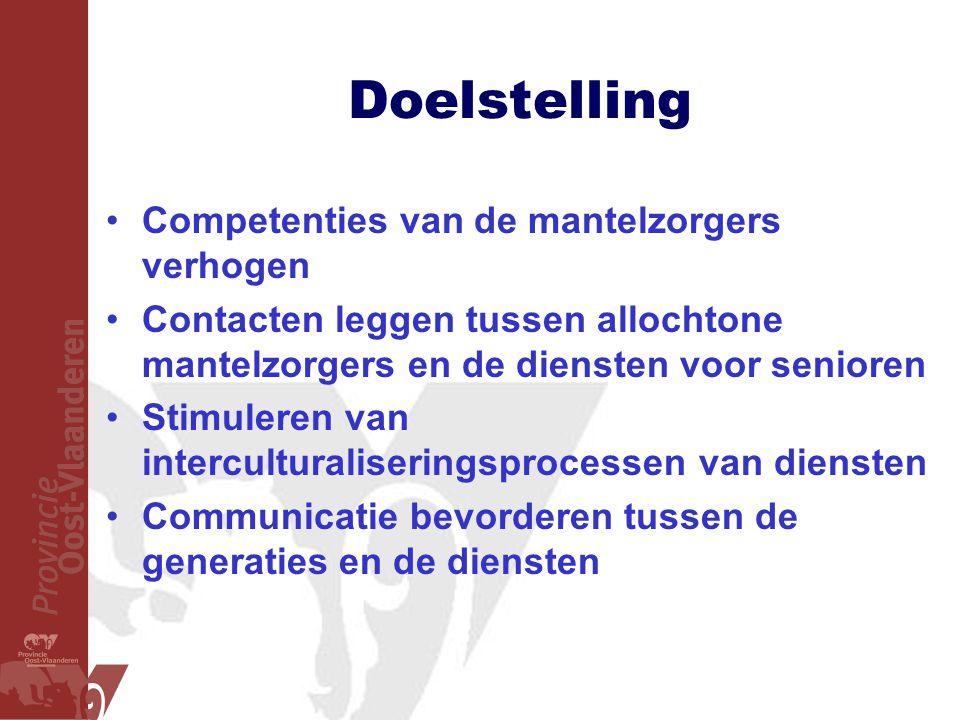 Doelstelling Competenties van de mantelzorgers verhogen