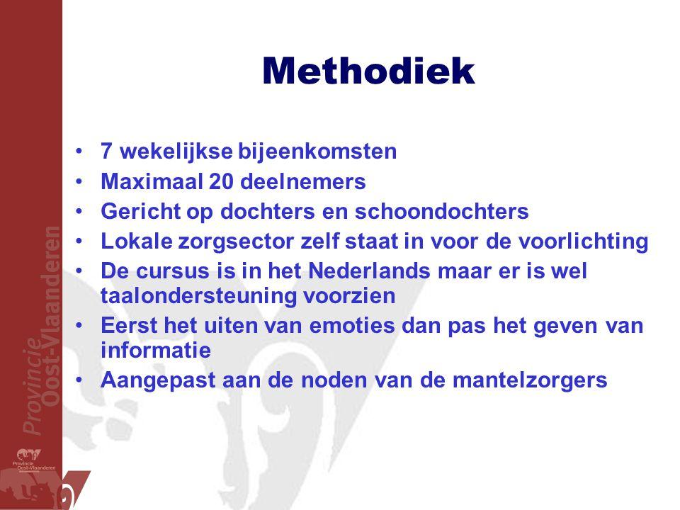Methodiek 7 wekelijkse bijeenkomsten Maximaal 20 deelnemers