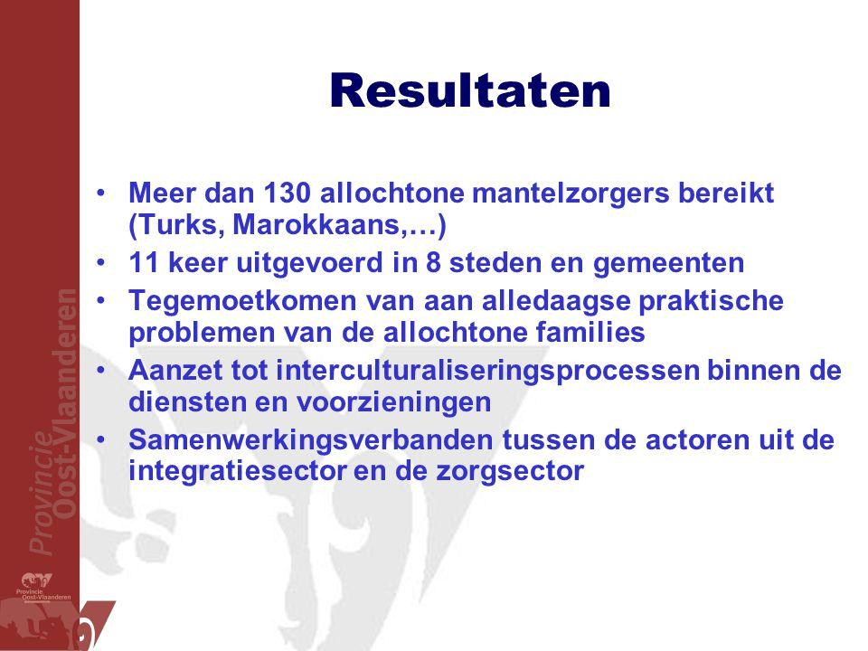 Resultaten Meer dan 130 allochtone mantelzorgers bereikt (Turks, Marokkaans,…) 11 keer uitgevoerd in 8 steden en gemeenten.