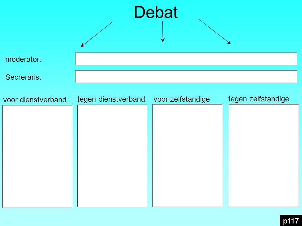 Debat moderator: Secreraris: voor dienstverband tegen dienstverband