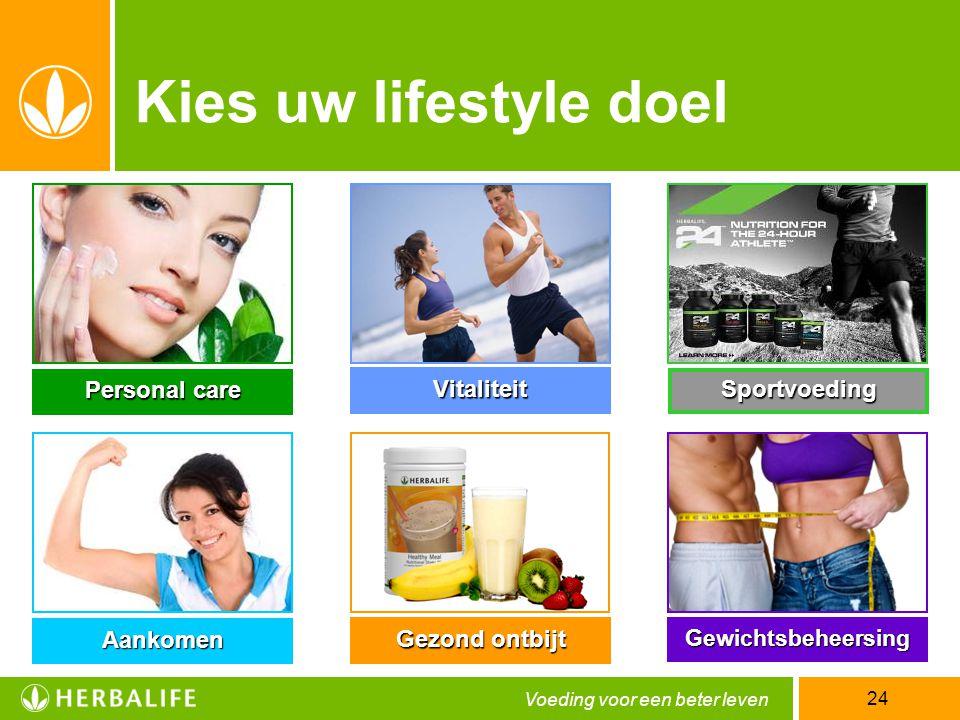 Kies uw lifestyle doel Personal care Vitaliteit Sportvoeding Aankomen