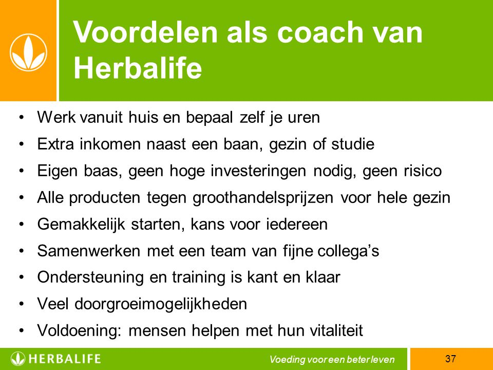 Voordelen als coach van Herbalife