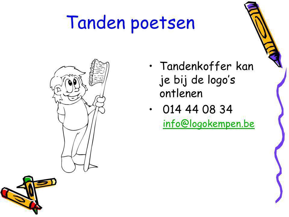 Tanden poetsen Tandenkoffer kan je bij de logo's ontlenen