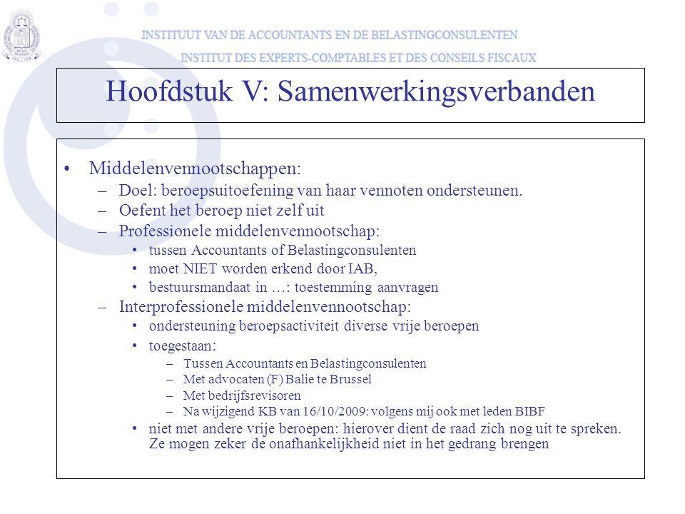 Hoofdstuk V: Samenwerkingsverbanden