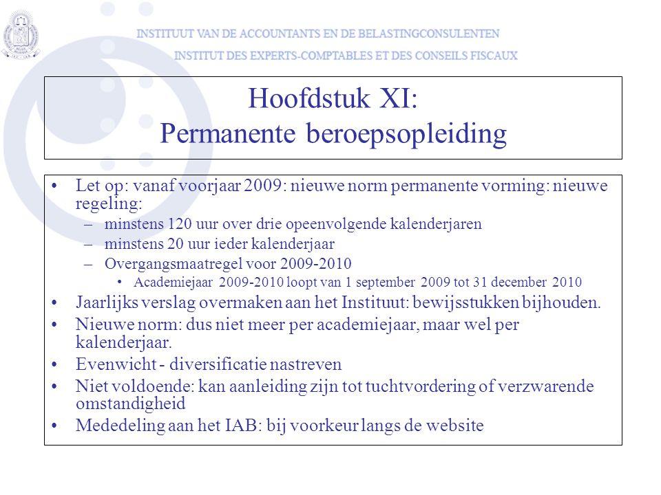 Hoofdstuk XI: Permanente beroepsopleiding