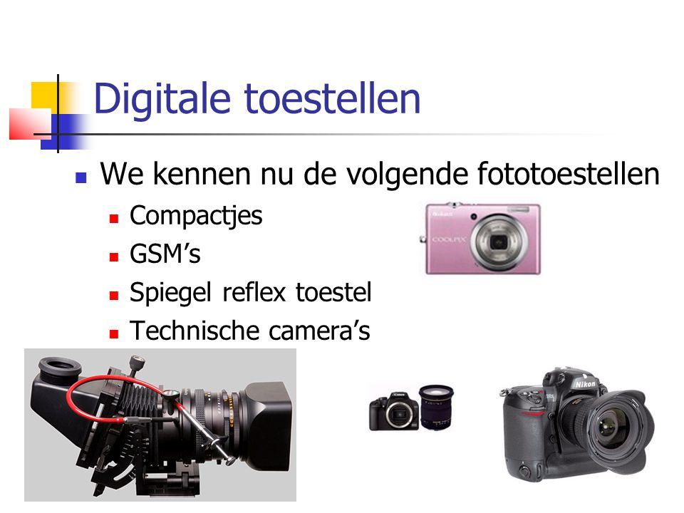 Digitale toestellen We kennen nu de volgende fototoestellen Compactjes