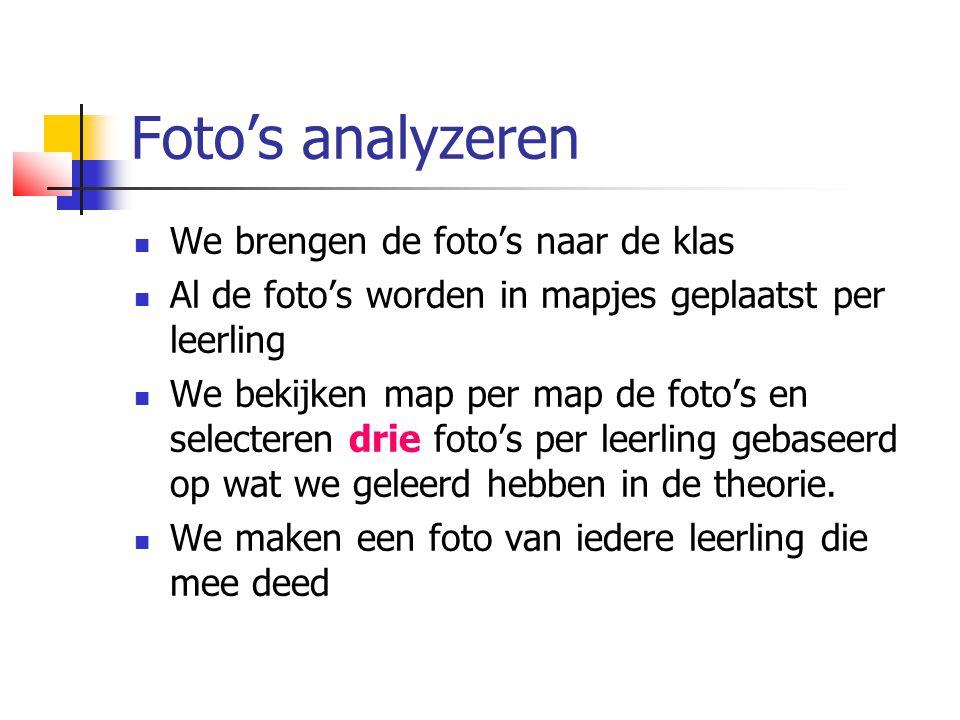 Foto's analyzeren We brengen de foto's naar de klas