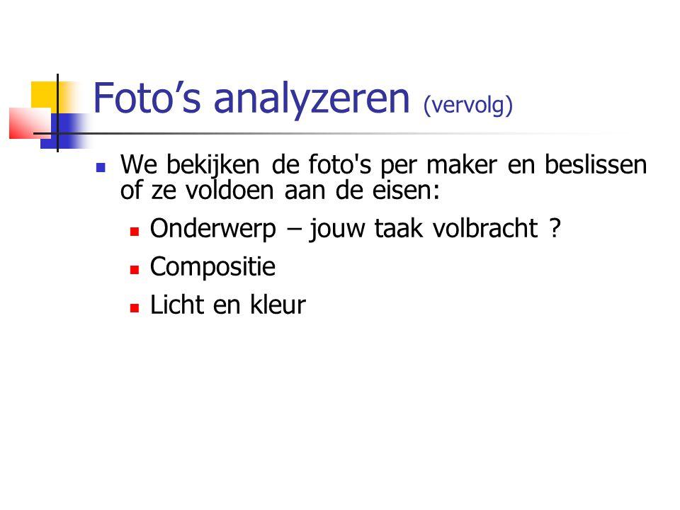 Foto's analyzeren (vervolg)