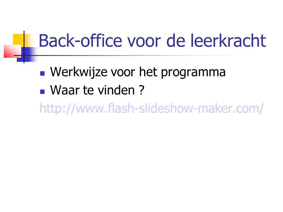 Back-office voor de leerkracht