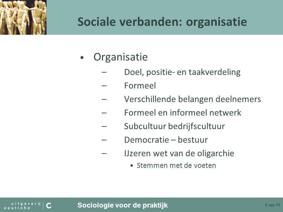 Sociale verbanden: organisatie