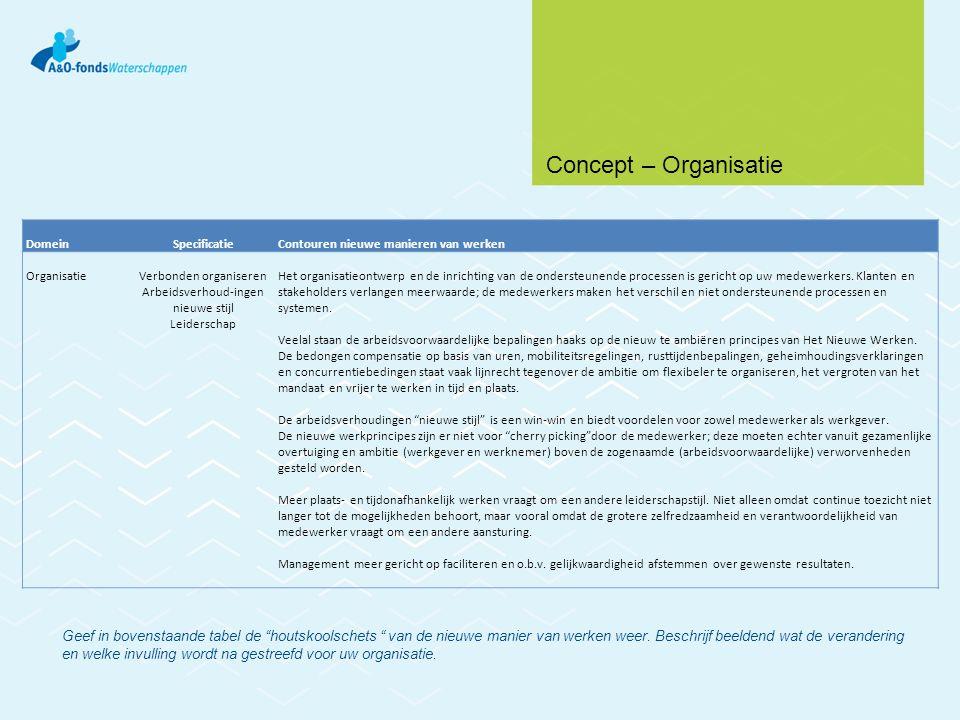 Concept – Organisatie Domein. Specificatie. Contouren nieuwe manieren van werken. Organisatie. Verbonden organiseren.