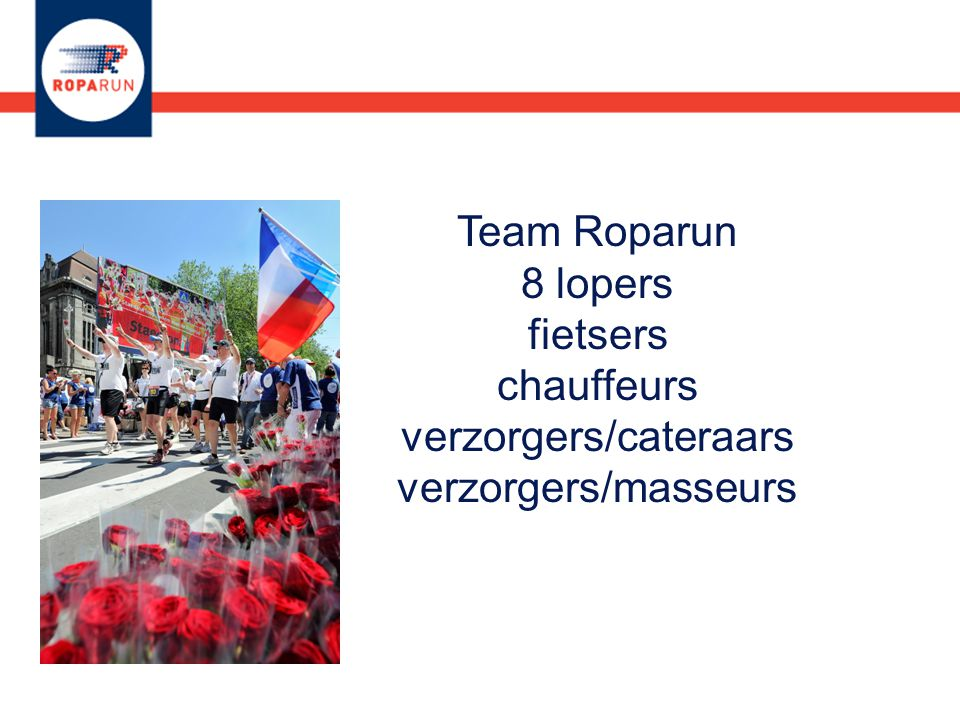 Team Roparun 8 lopers fietsers chauffeurs verzorgers/cateraars verzorgers/masseurs