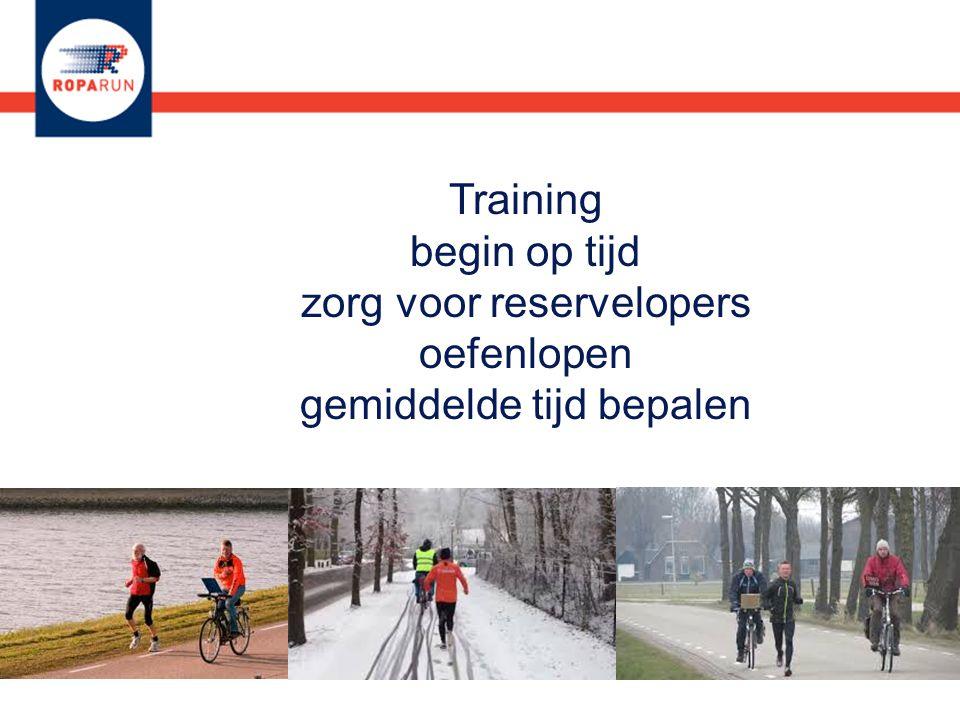 Training begin op tijd zorg voor reservelopers oefenlopen gemiddelde tijd bepalen