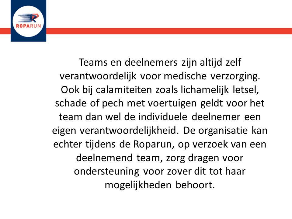 Teams en deelnemers zijn altijd zelf verantwoordelijk voor medische verzorging.