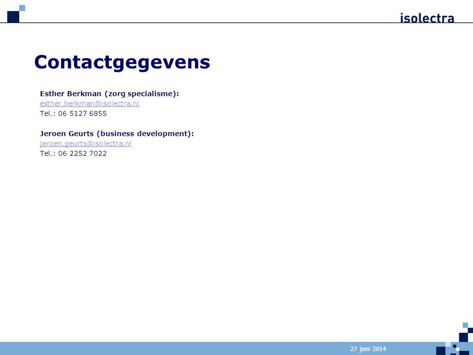 Contactgegevens Esther Berkman (zorg specialisme):