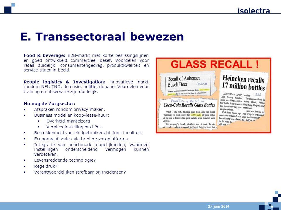 E. Transsectoraal bewezen