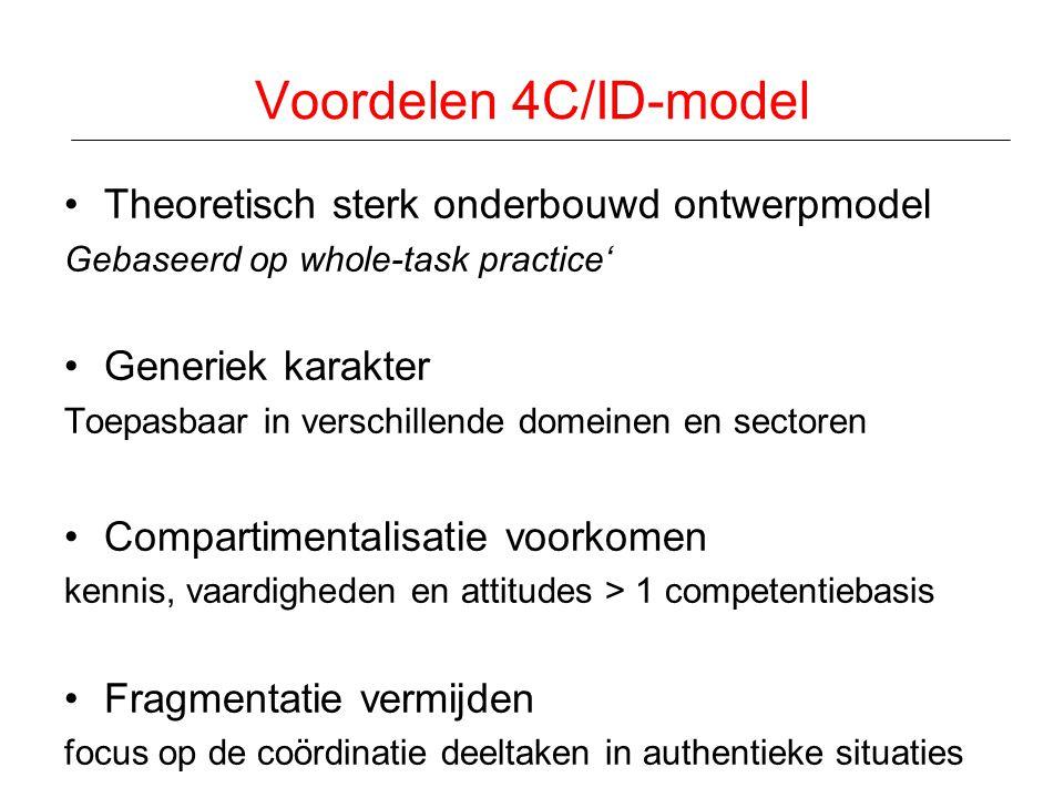 Voordelen 4C/ID-model Theoretisch sterk onderbouwd ontwerpmodel