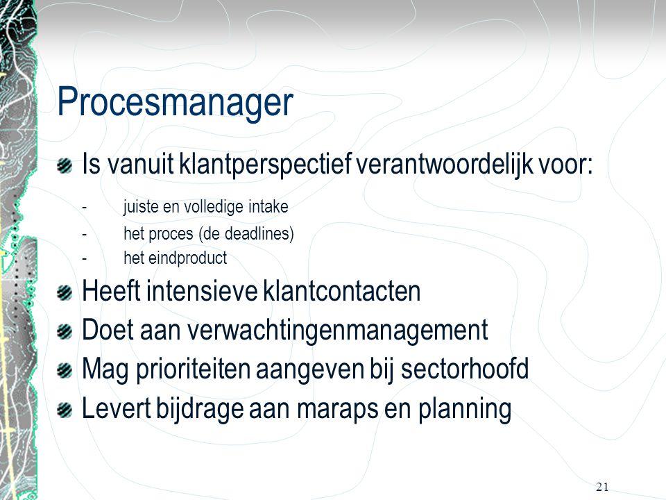 Procesmanager Is vanuit klantperspectief verantwoordelijk voor: