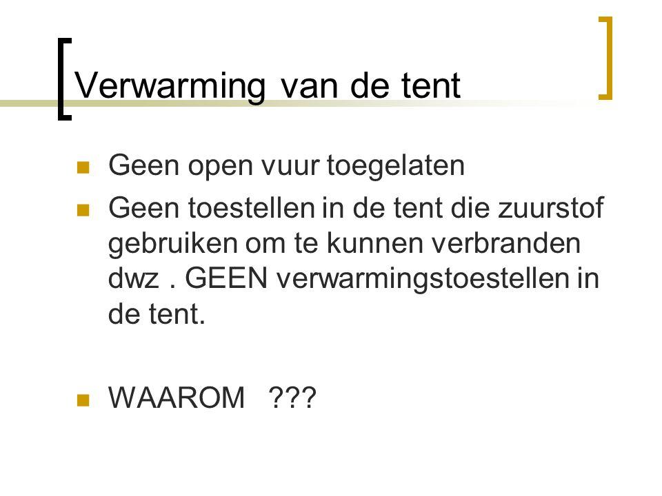 Verwarming van de tent Geen open vuur toegelaten