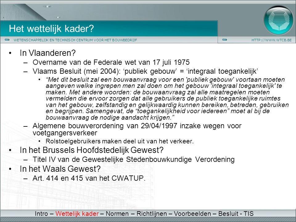 Het wettelijk kader In Vlaanderen