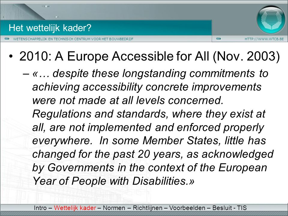 2010: A Europe Accessible for All (Nov. 2003)