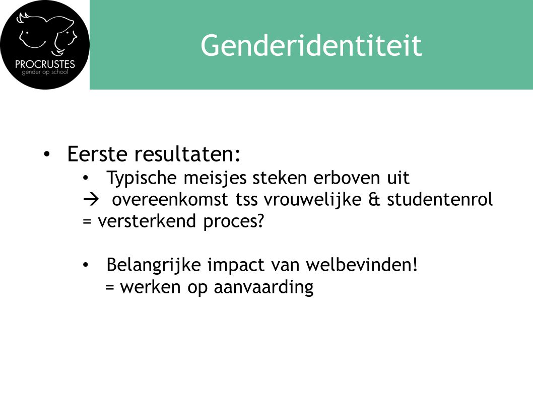 Genderidentiteit Eerste resultaten: