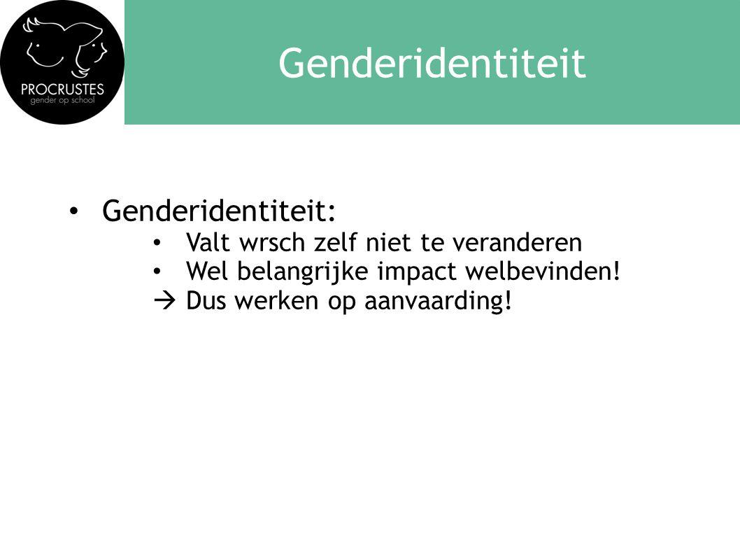 Genderidentiteit Genderidentiteit: Valt wrsch zelf niet te veranderen