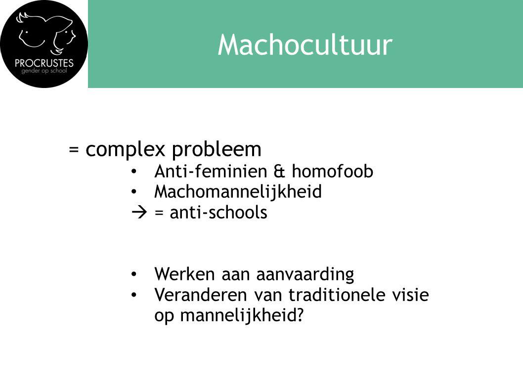 Machocultuur = complex probleem Anti-feminien & homofoob
