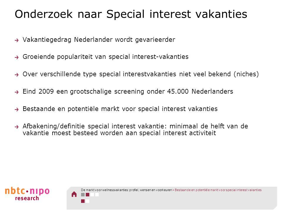 Onderzoek naar Special interest vakanties