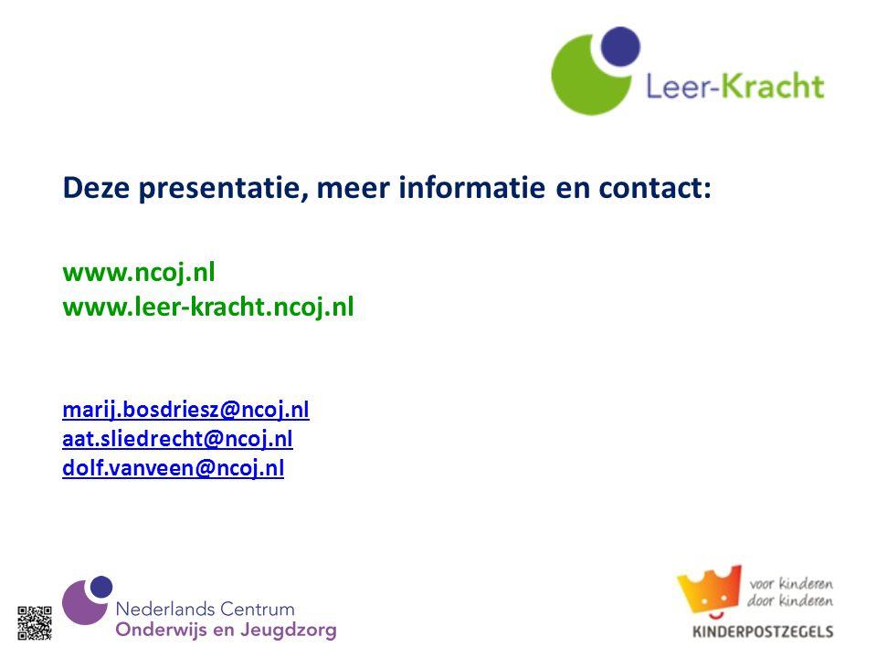 Deze presentatie, meer informatie en contact: www. ncoj. nl www