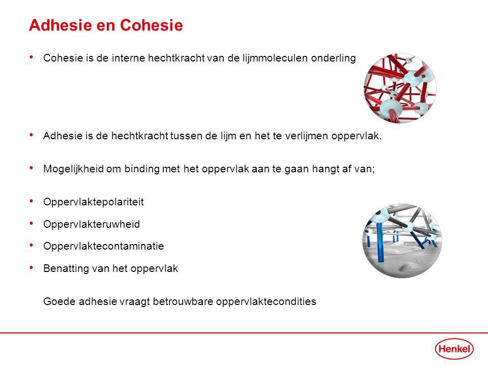 Adhesie en Cohesie Cohesie is de interne hechtkracht van de lijmmoleculen onderling.
