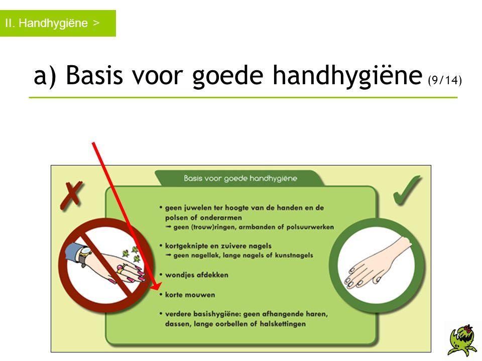 a) Basis voor goede handhygiëne (9/14)