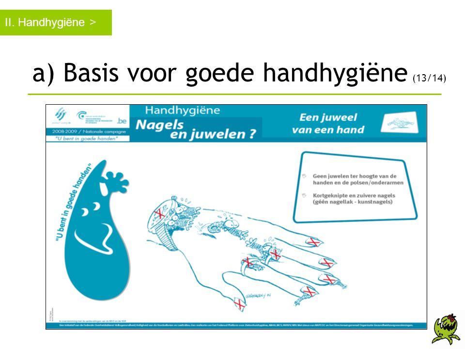 a) Basis voor goede handhygiëne (13/14)