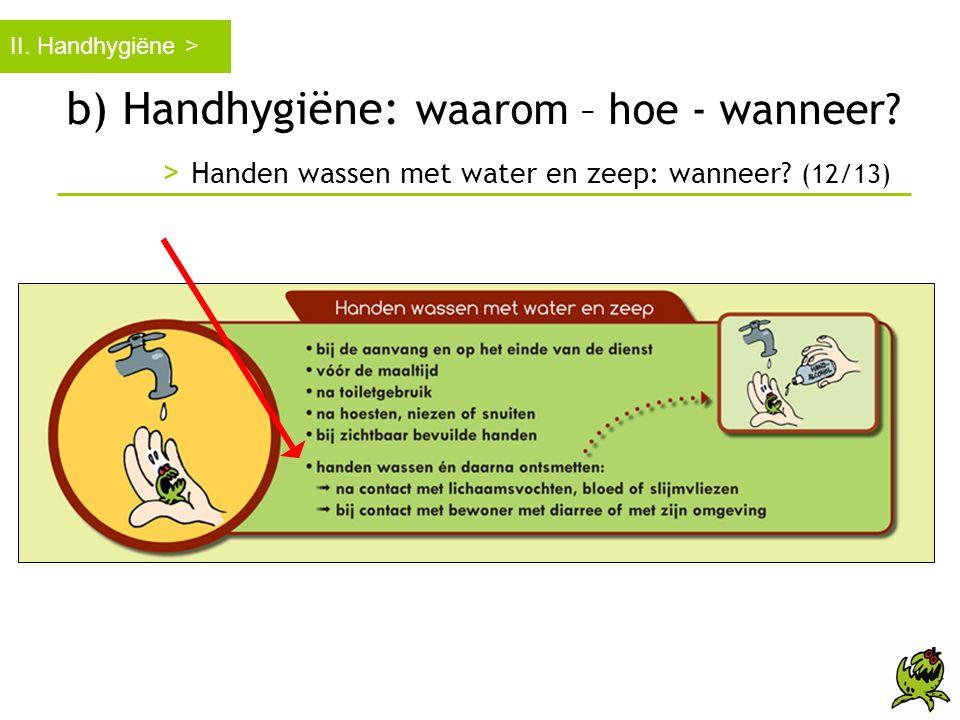II. Handhygiëne > b) Handhygiëne: waarom – hoe - wanneer.