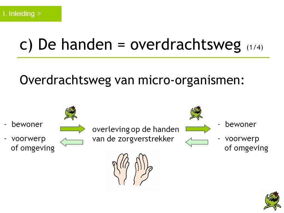 c) De handen = overdrachtsweg (1/4)