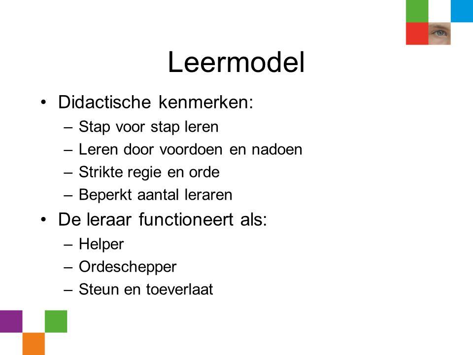 Leermodel Didactische kenmerken: De leraar functioneert als: